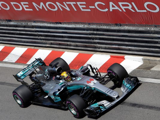 Mercedes driver Lewis Hamilton of Britain steers his car during the Formula One Grand Prix at the Monaco racetrack in Monaco, Sunday, May 28, 2017. (AP Photo/Claude Paris)