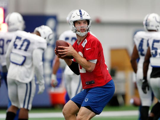 Indianapolis Colts quarterback Andrew Luck practiced