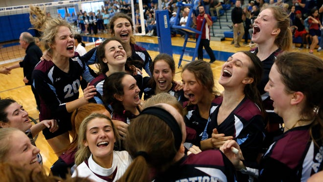 Assumption wins the KHSAA state championship in volleyball against Mercy. The Rockets did it in three straight sets.
