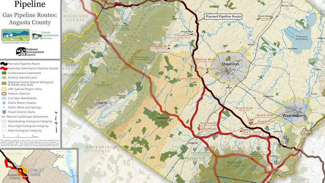 A map shows Dominion's proposed pipeline route through Augusta County (brown) and proposed alternate routes (red) that the company announced Monday are its first choice.