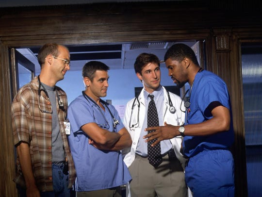 """NBC's """"ER"""" cast members, from left, Anthony Edwards"""