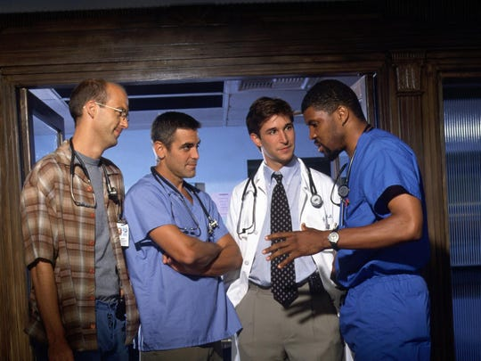 "NBC's ""ER"" cast members, from left, Anthony Edwards as Dr. Mark Greene, George Clooney as Dr. Doug Ross, Noah Wyle as Dr. John Carter and Eriq La Salle as Dr. Peter Benton."