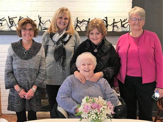 Celebrating 75 – A limo ride to the Red Geranium Restaurant in New Harmony provided the perfect backdrop for a 75th birthday celebration. The birthday girl Vicki Jaquess (seated) was treated by friends Jan Weiss, Melissa Hurley, Karen Kuester and June Barnes on her special day.