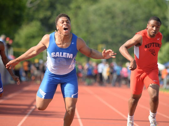 Salem's Jonathan Taylor reacts as he wins the boys 100-meter dash during the NJSIAA Track and Field Meet of Champions at Northern Burlington County Regional High School, Saturday, June 9, 2017. Joe Warner/For Asbury Park Press