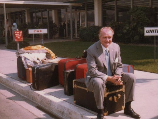 Red Skelton in 1975, on one of his many travels
