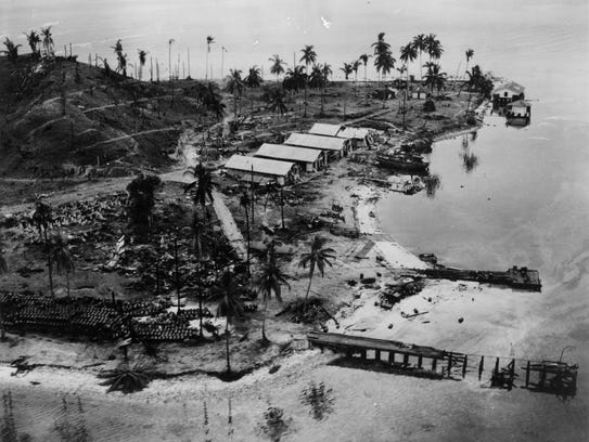 An aerial photo of Guadalcanal. Marines land on Guadalcanal,