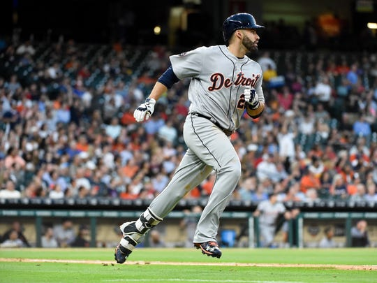 Detroit Tigers' J.D. Martinez rounds the bases after hitting a solo home run off Houston Astros starting pitcher Mike Fiers during the fourth inning Thursday in Houston.