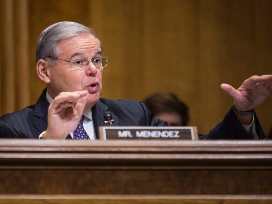 Sen. Bob Menendez, D-N.J., speaks during a Senate Foreign Relations Committee  hearing on Feb. 15, 2017.