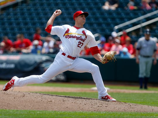 St. Louis Cardinals pitcher Jack Flaherty delivers a pitch as a member of the Springfield Cardinals on Monday, May 22, 2017.