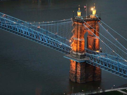 April 4, 2016. Roebling Suspension Bridge, Opening Day, Cincinnati Reds, baseball, MLB, Liz Dufour