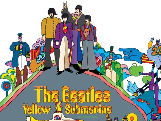 "The cover to the Beatles' 1969 soundtrack album ""Yellow Submarine."""