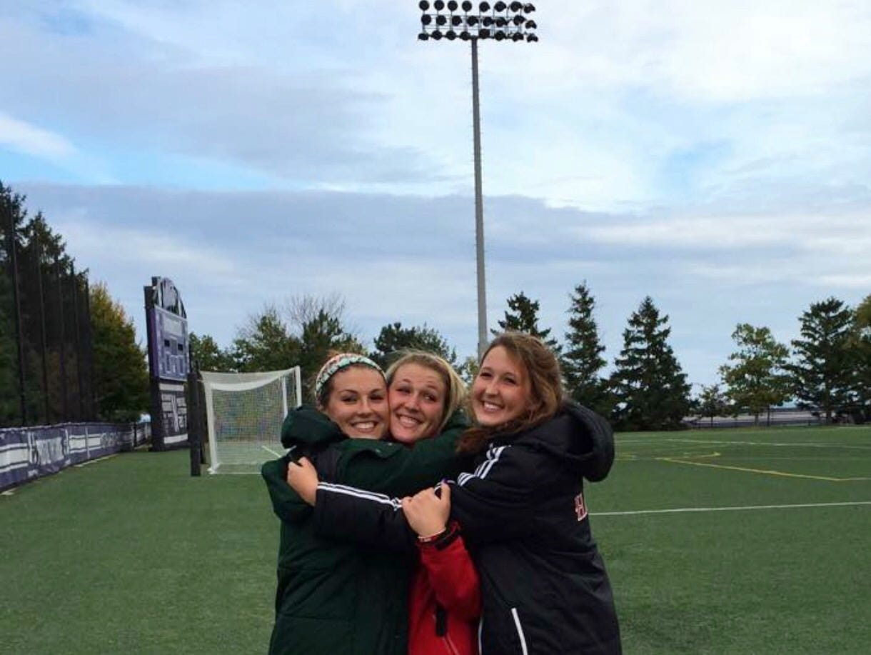 Madison Clem (right) will become the third person in her immediate family to become a Big Ten goalkeeper. The senior will follow in the footsteps of her sisters, Courtney (left, Michigan State) and Caitlyn (middle, Wisconsin), after signing her National Letter of Intent to play at MSU on Wednesday.