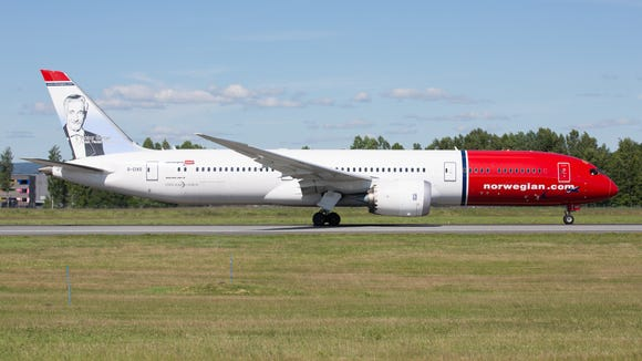 A Norwegian Air Boeing 787-9 departs for the U.S. from