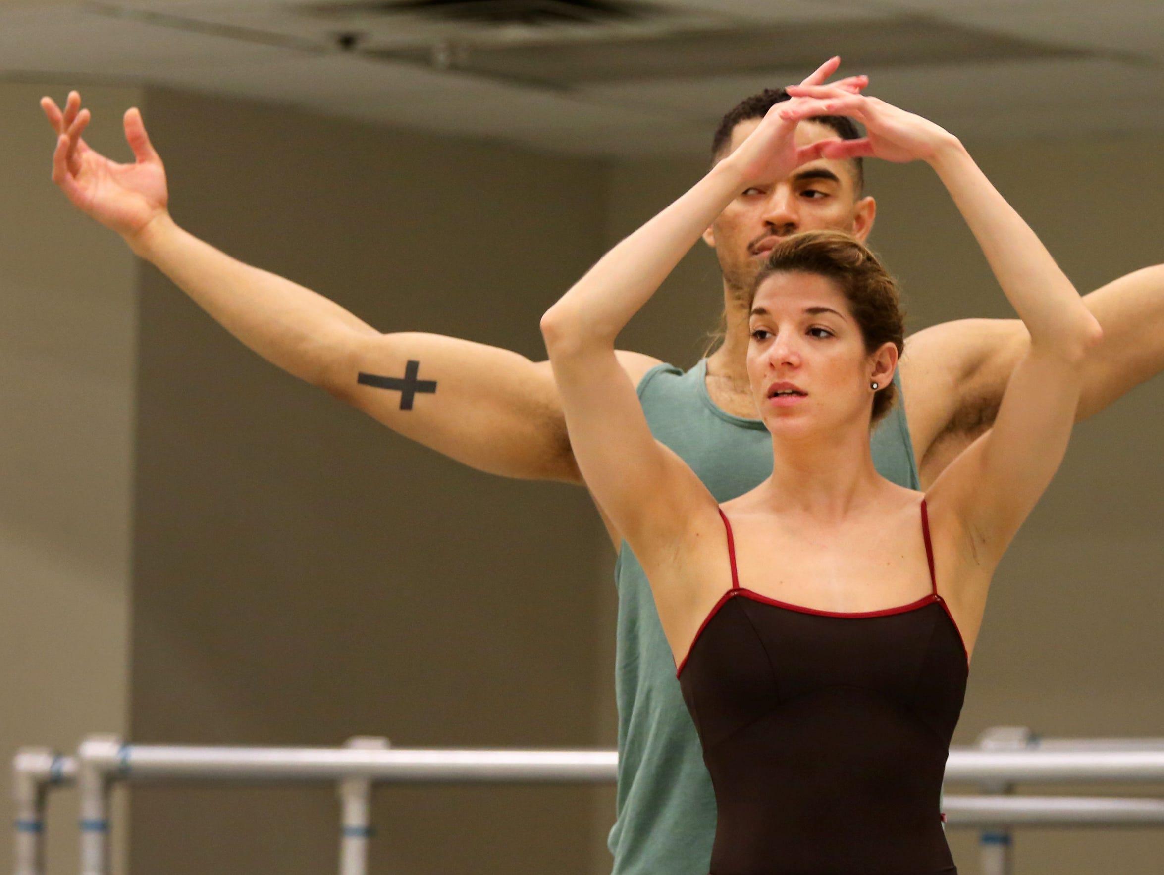 James Gilmer rehearses with Gema Diaz at the Cincinnati