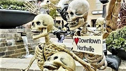 The Skeletons Are Alive -- on the streets of downtown Northville through Halloween. Some 100 life-sized skeleton sculptures will gladly pose for photos.