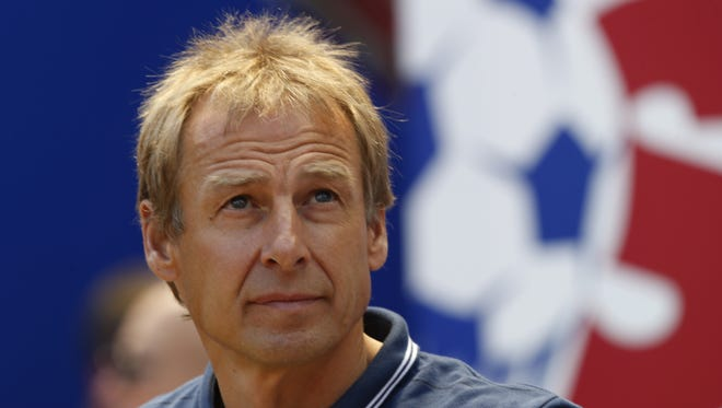 United States head coach Jurgen Klinsmann looks on before the start of an international soccer friendly between Turkey and the United States, Sunday, June 1, 2014, in Harrison, N.J.