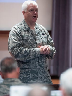 Lt. Gen. L. Scott Rice, director of the Air National Guard, speaks during the Air University Adjutant General Summit held at Maxwell Air Force Base in Montgomery, Ala., on Thursday October 5, 2017.