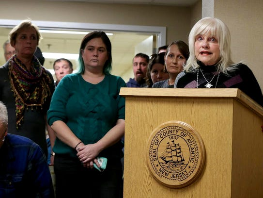Gail Biel, right, of Linwood, speaks out against Atlantic