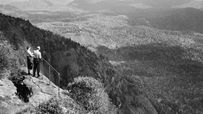 View from Whiteside Mountain, between Cashiers and Highlands.  Citizen-Times file photo by Gus Martin, 1958.