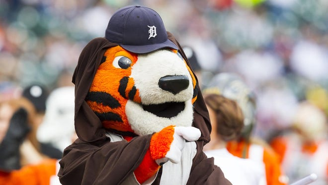 Detroit Tigers mascot Paws in Star Wars costume before a game at Comerica Park.