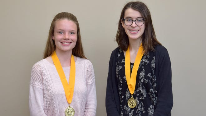 Vestal High School valedictorian Kathryn Labosky (left) and salutatorian Teresa Deskur (right).