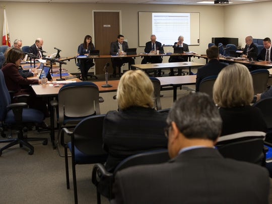 The Board of Retirement listens to an analysis of its 2015-16 fiscal year during the Ventura County Employees' Retirement Association meeting in January.