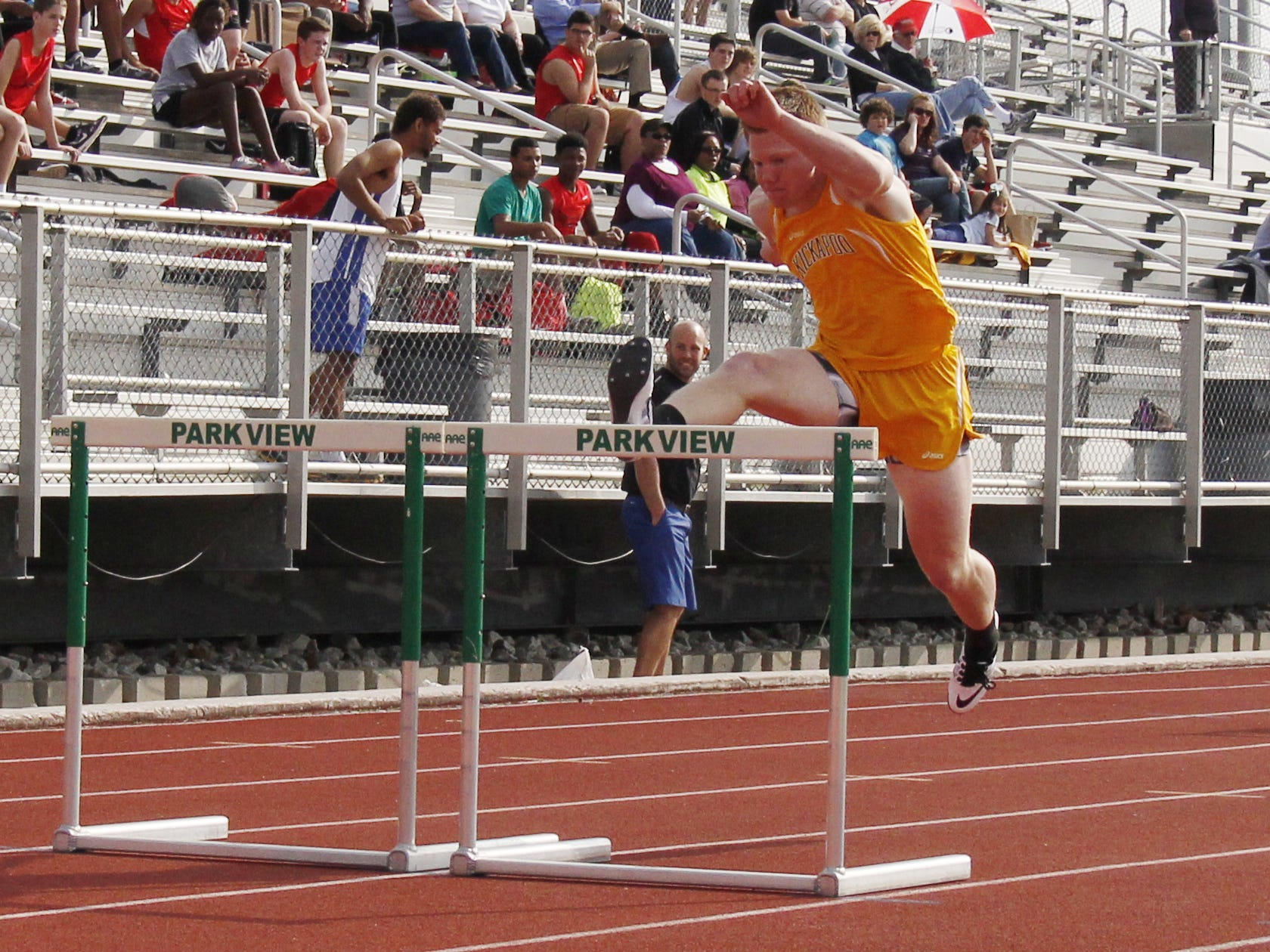Kickapoo sophomore Maverick McGee won the 110-meter hurdles race Thursday night at JFK Stadium with an unofficial time of 15.6 seconds.
