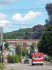 At one point, thick black smoke could be seen up to