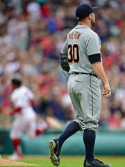 Detroit Tigers reliever Alex Wilson watches as Cleveland