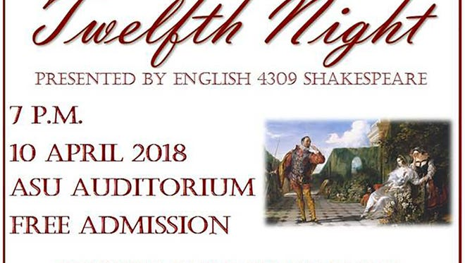 "Free public performance of Shakespeare's ""Twelfth Night"" at ASU"