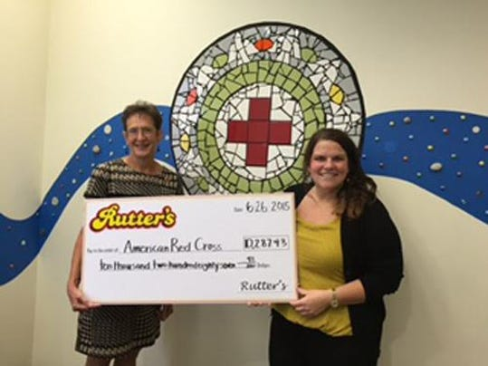 Alexandra Henry from Rutter s Farm Store, right, presents a check for $10,287.43 to Barb Taylor of the American Red Cross of York and Adams counties.