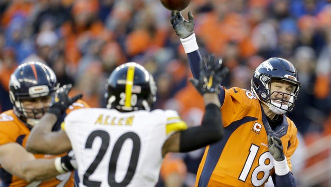 Denver Broncos quarterback Peyton Manning, right, passes against the Pittsburgh Steelers during the second half in an NFL football divisional playoff game, Sunday, Jan. 17, 2016, in Denver. Broncos will face off against the Panthers in Super Bowl 50.