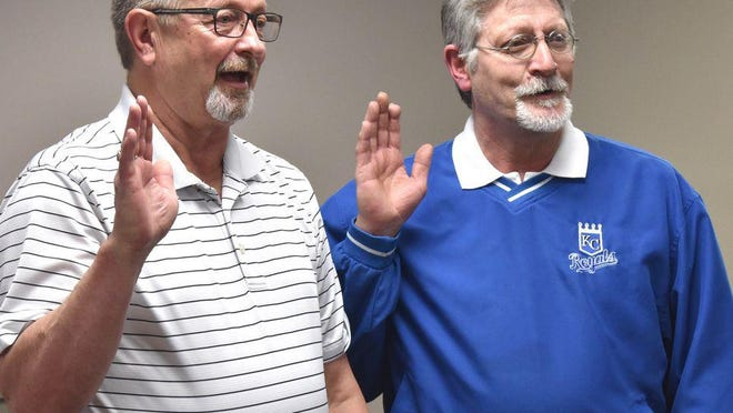 Some Neosho community members have called for the resignation of Mayor Carmin Allen, left, over a proposed mask ordinance.