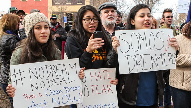 A group of local and statewide community groups gathered on the Murfreesboro Public Square Saturday, Feb. 3, 2018, to demand passage of the immigration program known as the DREAM Act.