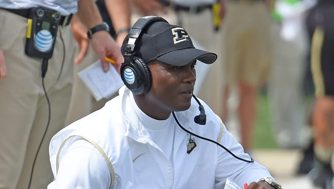 Purdue Boilermakers head coach Darrell Hazell in the 2nd half at Ross Ade Stadium. Purdue won the game 43-34.