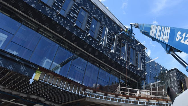 """A view of what's known at the """"Bridge"""" building, part of the Integrated Science Project at Vassar College. The building is to be completed by January 2016."""