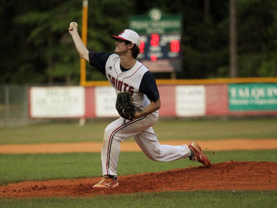 Wakulla Christian's Jacob Dismuke pitches against Eagle's