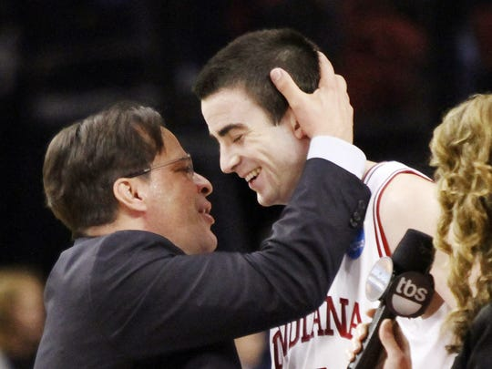 Tom Crean, left, celebrates with Will Sheehey after defeating Virginia Commonwealth 63-61.