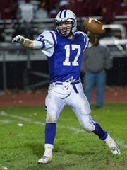 Northern York's quarterback Curtis Robison (17) throws the ball during a Mid Penn Colonial Divison football game on Friday, Oct. 21, 2016 at Northern York in Dillsburg, Pa. Northern York defeated Shippensburg 17-16.