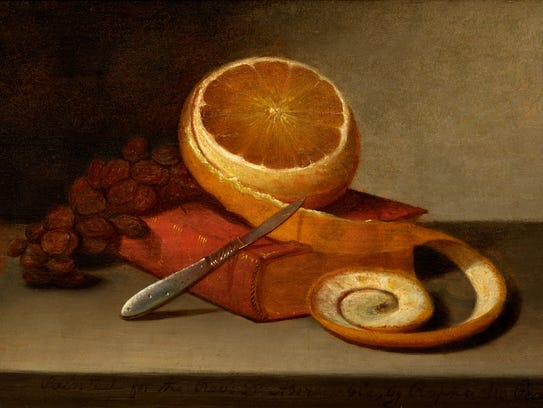 "Raphaelle Peale, ""Orange and Book,"" oil on panel, circa"