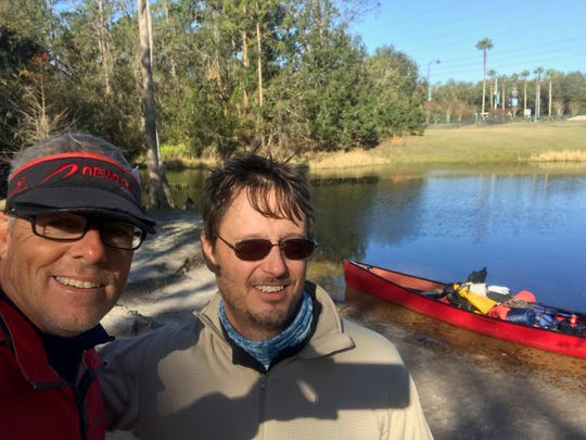 Andrew West and Chad Gillis at the start of their nine day trip down the Kissimmee River and chain of lakes.