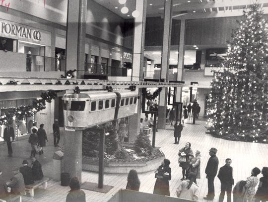 The Midtown Plaza monorail, pictured in November 1972.