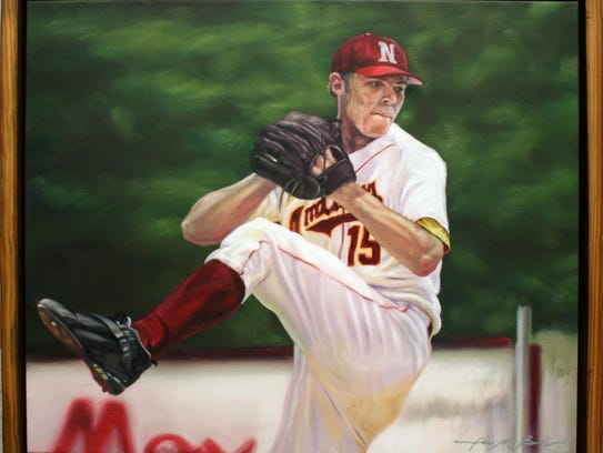 An oil painting of Ben Sheets in his old NLU uniform