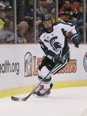 Michigan State defenseman Josh Jacobs plays against Michigan on Jan. 30, 2015, in Detroit.