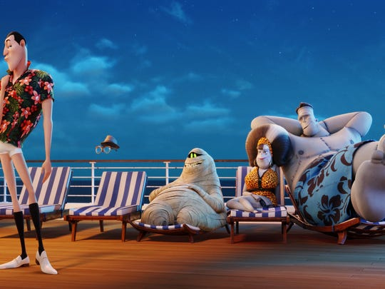 "Dracula (Adam Sandler), Griffin the Invisible Man (David Spade), Murray (Keegan-Michael Key), Eunice (Fran Drescher) and Frank (Kevin James) in ""Hotel Transylvania 3: Summer Vacation."""