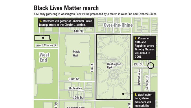 A map of the route for Sunday's Black Lives Matter march