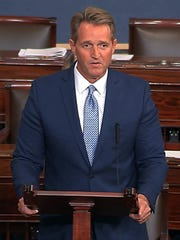 Sen. Jeff Flake, R-Ariz., announces Oct. 24, 2017, on the Senate floor in Washington that he will not run for re-election in 2018.