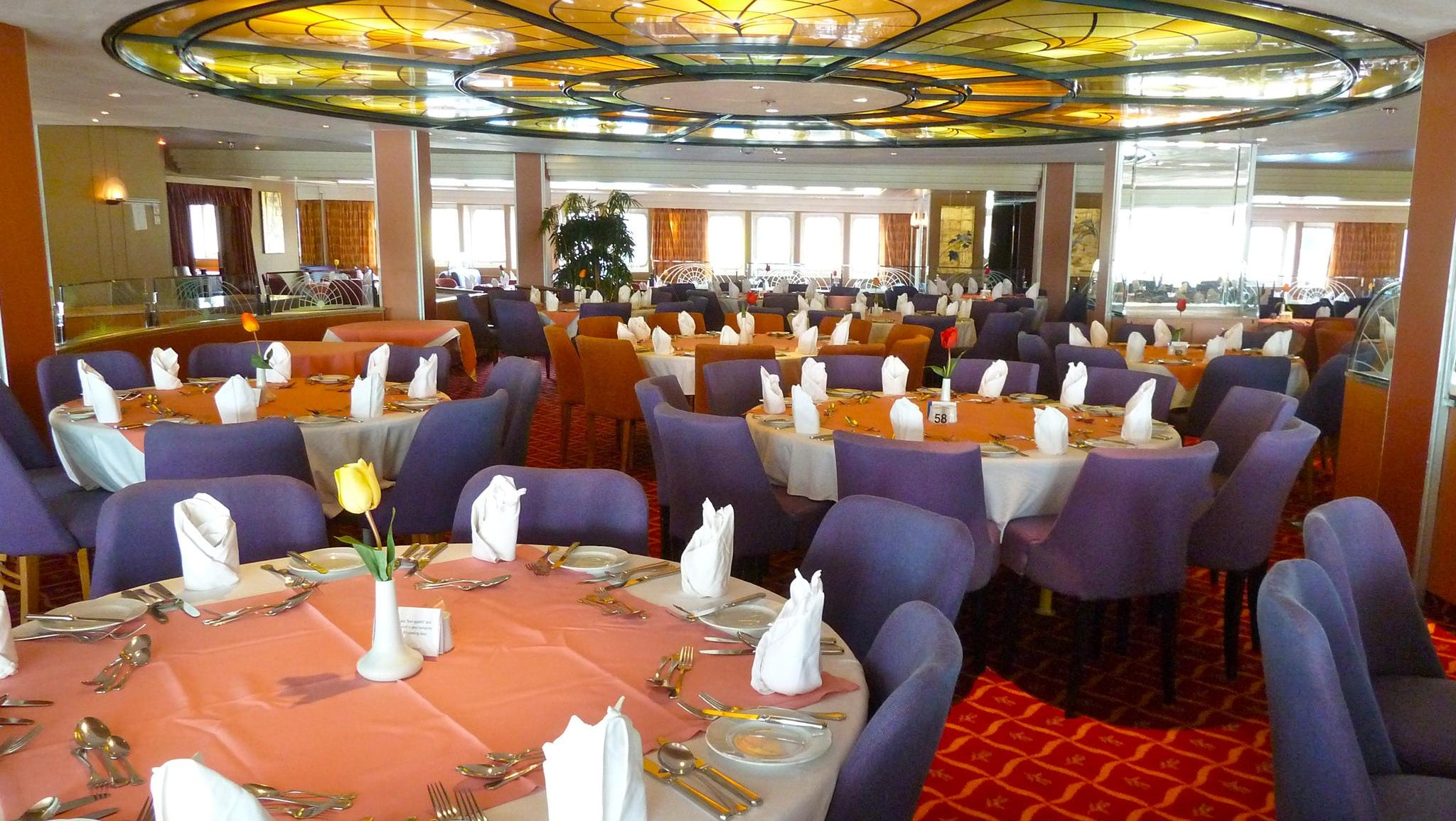 The pleasantly decorated 446-seat Waldorf Restaurant is located on midships Atlantic Deck.