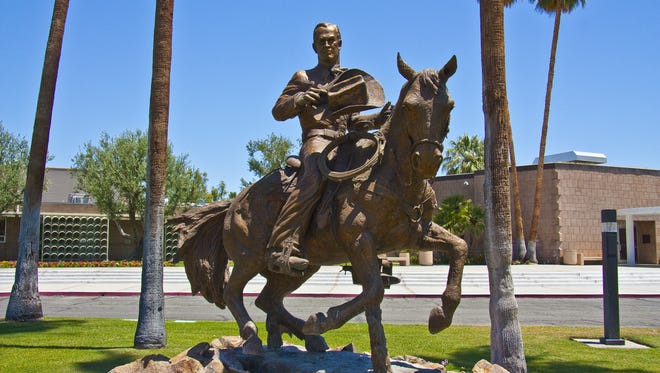 Frank Bogert on Horseback by Raymundo Kobo located in front of Palm Springs City Hall.