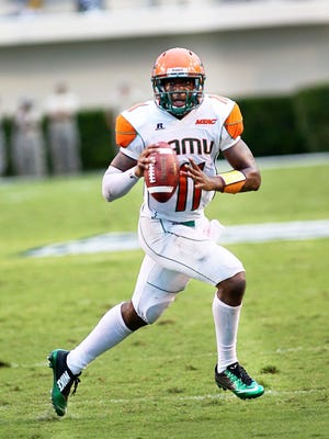 FAMU quarterback Damien Fleming in his old high school number 11 jersey.